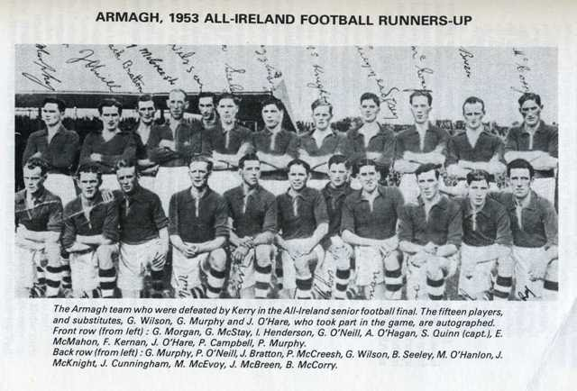 1953 Armagh All Ireland finalist. Joe O'Hare front row 3rd from right